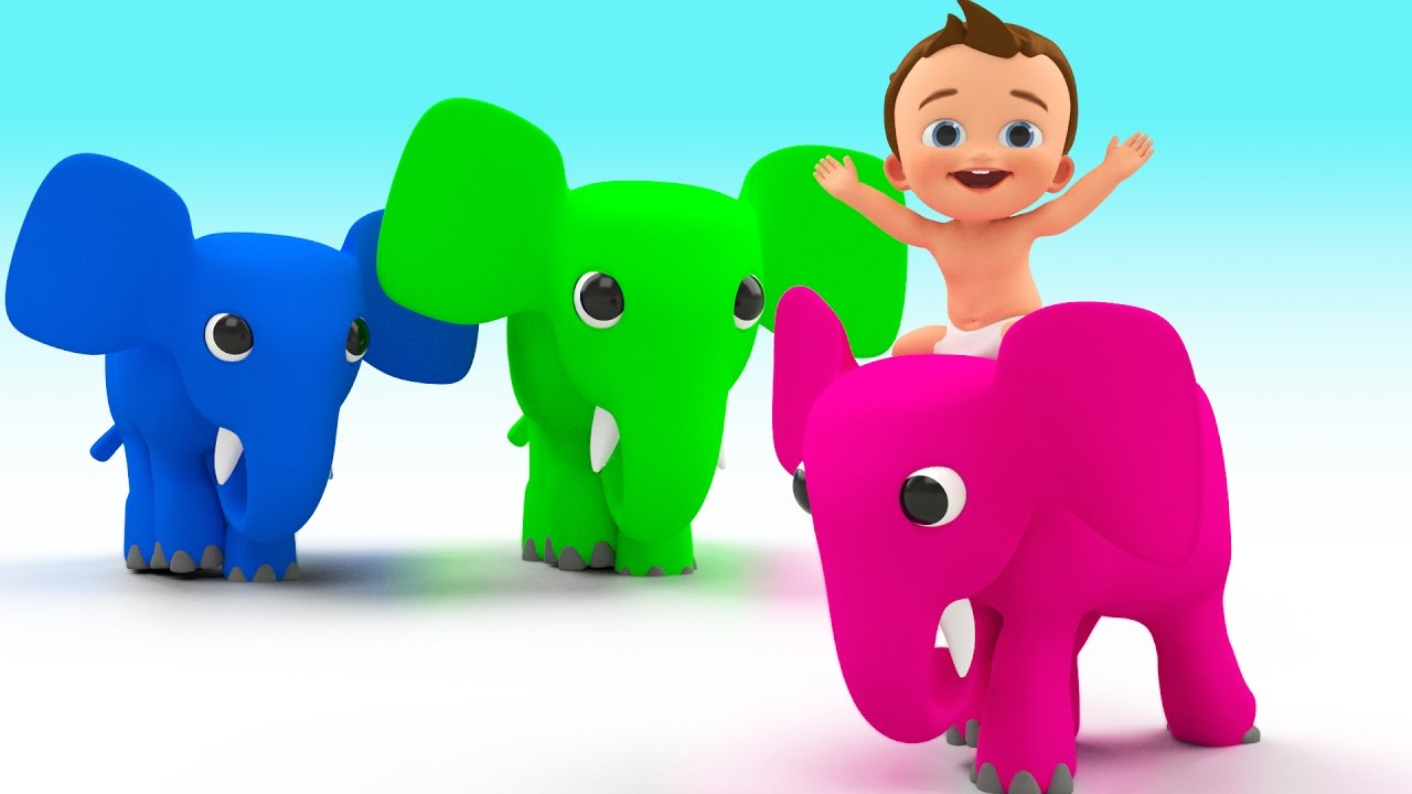 Learn Colors for Children with Baby Ridding Elephant - Learn Colours ...