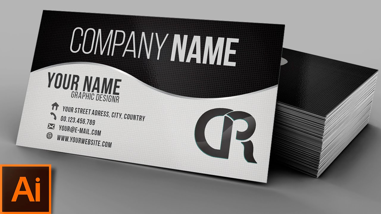 Modern bw business card illustrator tutorial youtube colourmoves