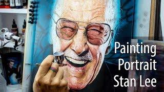 Realistic Painting Portrait Stan Lee (Marvel) - Retrato realista en Aerografia Stan lee