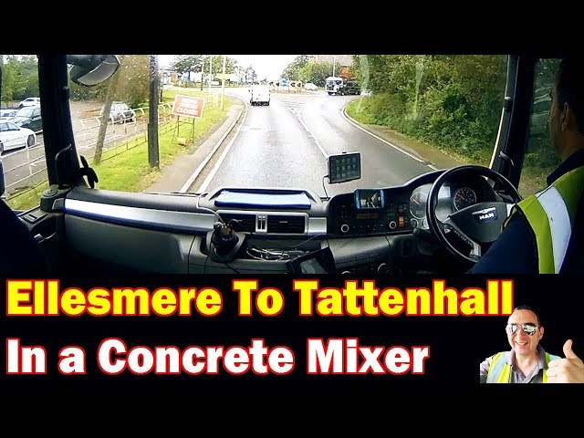 Ellesmere to Tattenhall in a Concrete Mixer Truck (Road Closed Signs) !