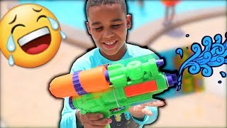 Pool Water Blaster Fight Kids Pretend Play | FamousTubeKIDS