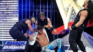 The Shield Triple Powerbombs Fandango off the SmackDown stage: SmackDown, April 25, 2014