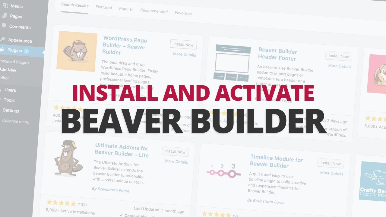 How to install and activate Beaver Builder