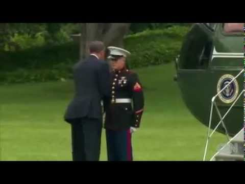 President Obama Forgets To Salute Marine, See What Happens After That! [Video]