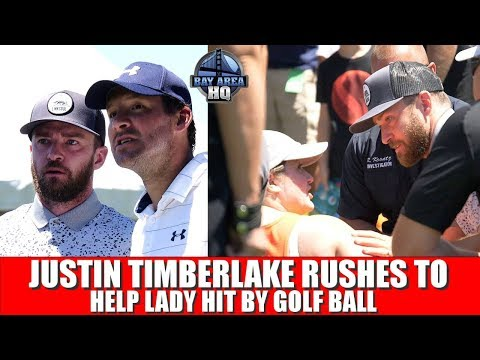 JUSTIN TIMBERLAKE consoles woman HIT BY GOLF BALL - Tony Romo American Century Championship 2017