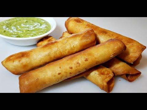 CHICKEN ROLLED TACOS | Crispy Taquitos With Avocado Salsa | Chicken FLAUTAS