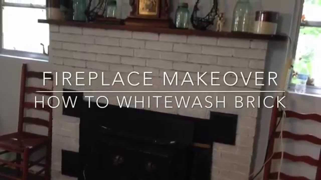 Fireplace Makeover: How to Whitewash Brick - YouTube