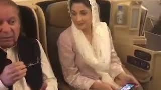 Nawaz Sharif and Maryam Nawaz in the Etihad flight to Lahore