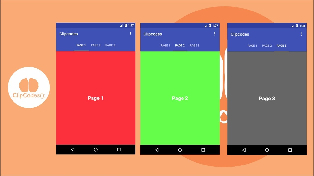 ViewPager and TabLayout Android Make Slide Page Tabs Custom Adapter Fragment
