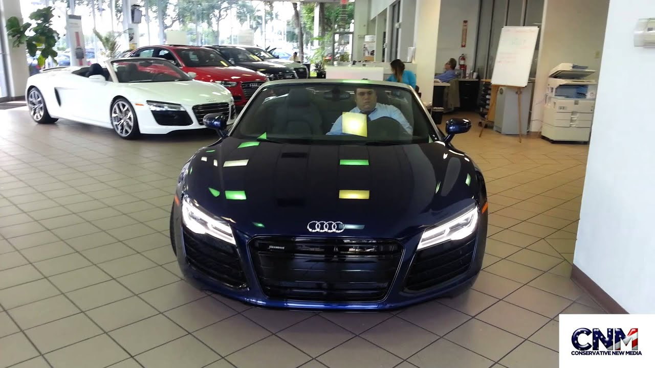 Audi R Spyder Being Put In The Showroom Video By John D - Audi dealers in south florida