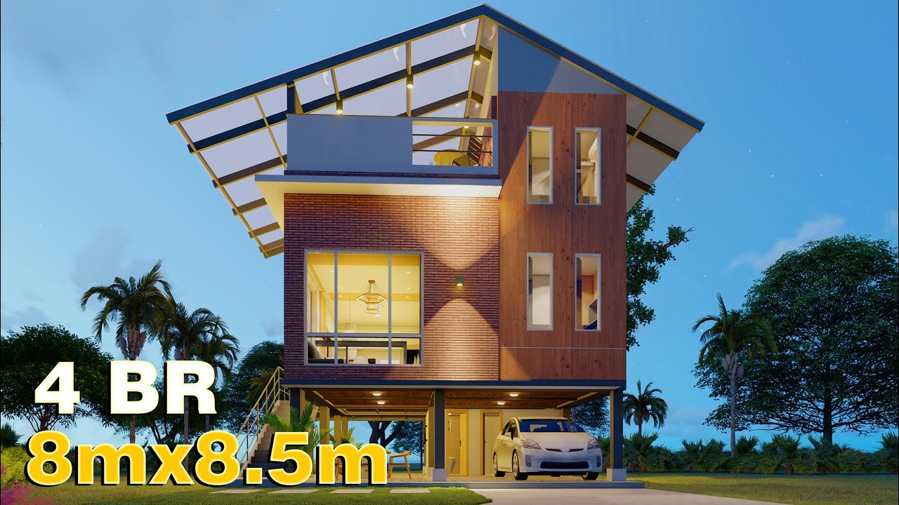 Small House Design 8mx8.5m (150 SQM) 4 Bedroom with Pool Deck