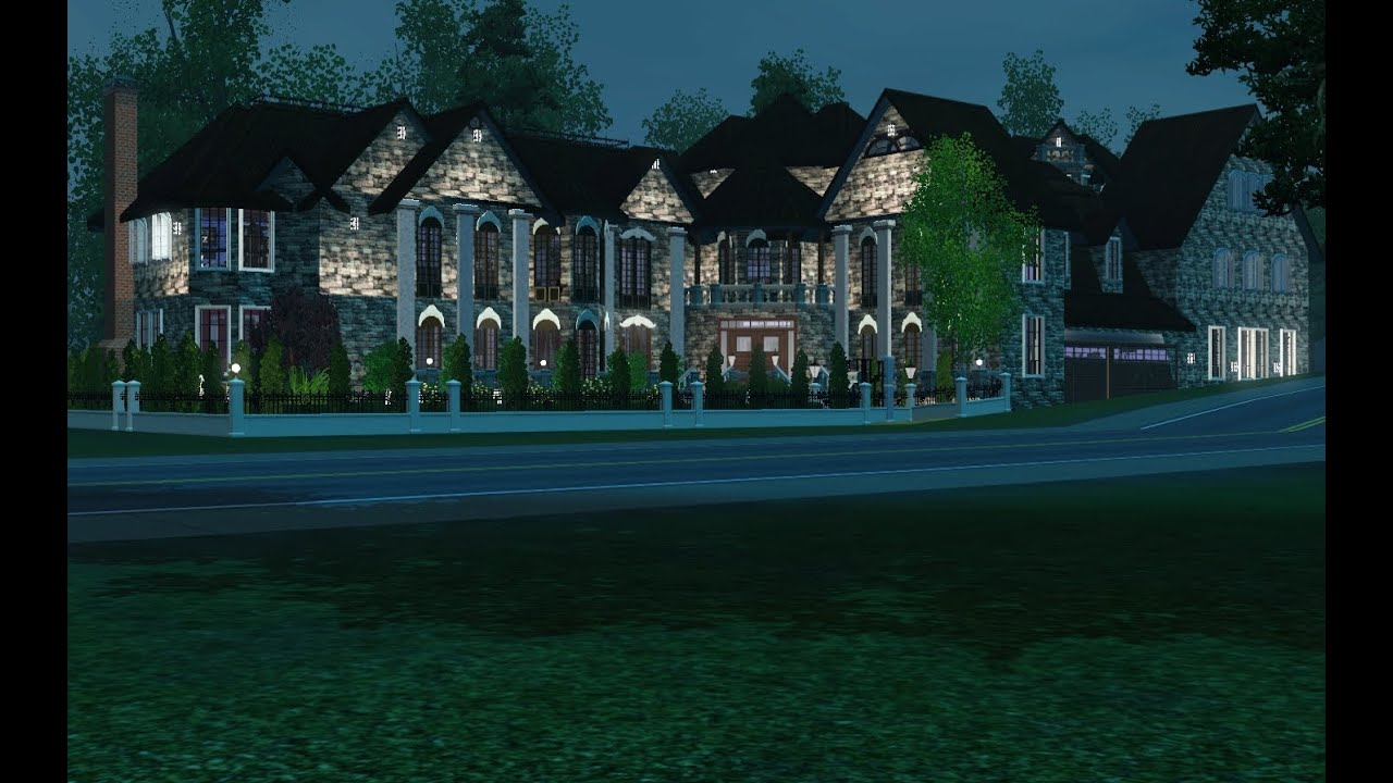 Traditional modern mansion the sims 3 building walkthrough for Classic house sims 3