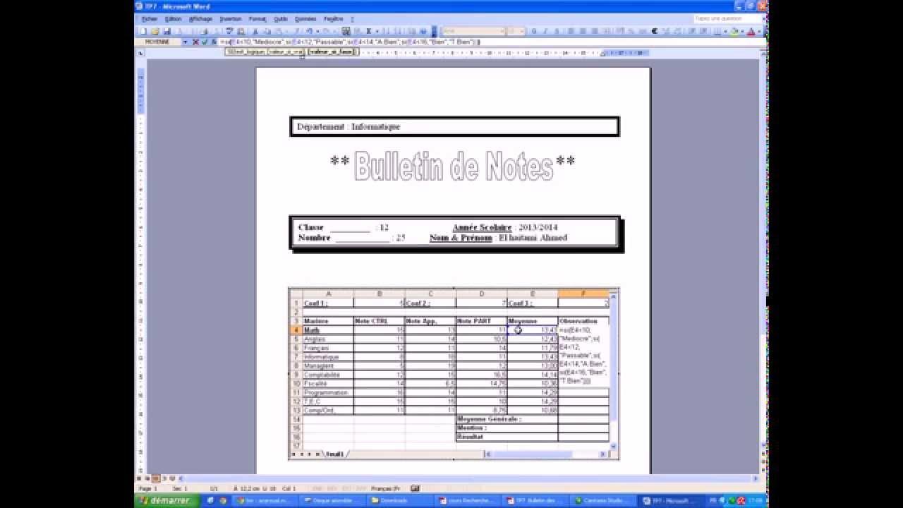 Tp7 Microsoft Excel Bulletin Des Notes Et Inserer