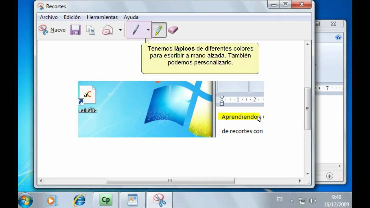 curso de windows 7 la herramienta recortes