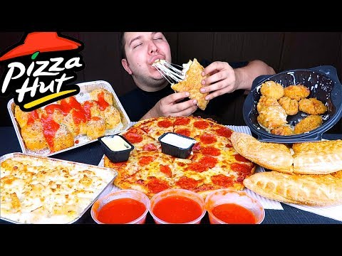 My First Time Trying Pizza Hut Calzone • MUKBANG