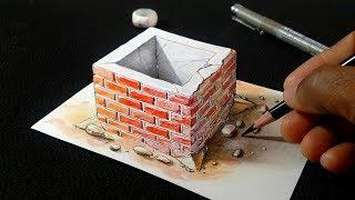 How to Draw 3D Brick Cistern - Waterhole Trick Art