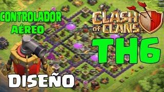 Diseño Aldea Ayuntamiento nivel 6 Guerra Clash of Clans