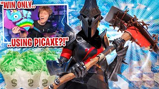 I got 100 FANS to scrim with ONLY PICKAXES for $100 in Fortnite... (funniest scrim ever)