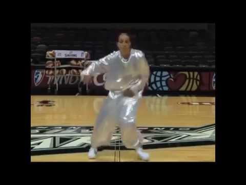 Funny Coach Becky Hammon dance MC Hammer in WNBA San Antonio Stars