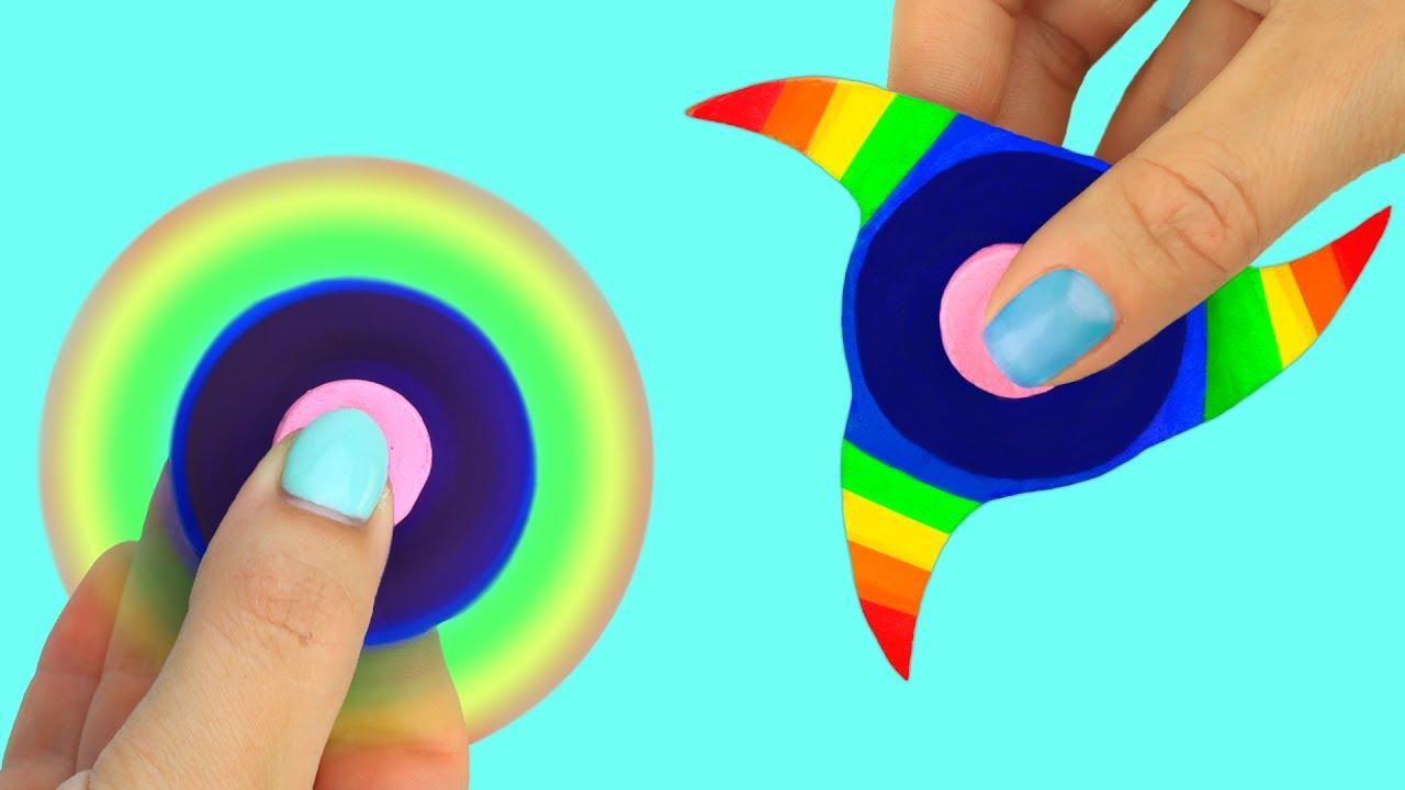 4 DIY Fidget Spinner Ideas Rainbow Lips Star Eye