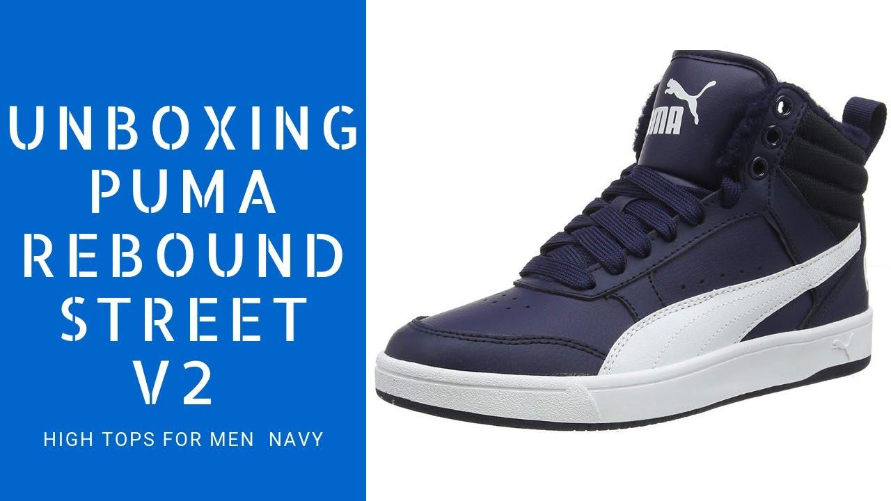 UNBOXING OF Puma Rebound Street v2 High Tops For Men Navy
