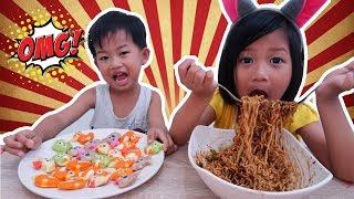 Yang Suka Makan Sini!! MUKBANG MIE HITAM KOREA Jjajangmyeon & Bakso Ikan Karakter Binatang Lucu