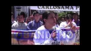 Mujer lidera marcha de comerciantes en  Ipiales - Marcha Ley Anti contrabando -