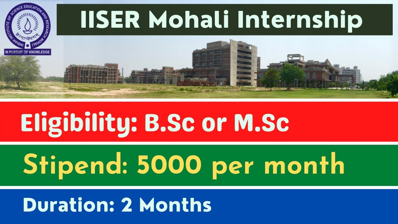 Project Position at IISER Mohali   Stipend 5000 per month   B.Sc   M.Sc   M.Tech Chemistry