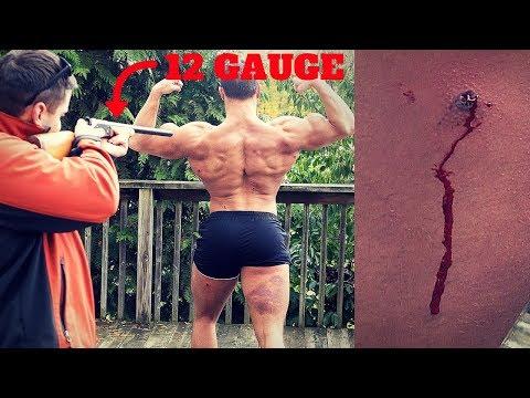 Bodybuilder VS 12 Gauge RUBBER BUCKSHOT *Intense Pain* | Shotgun Ammo Damage Test Challenge Fail