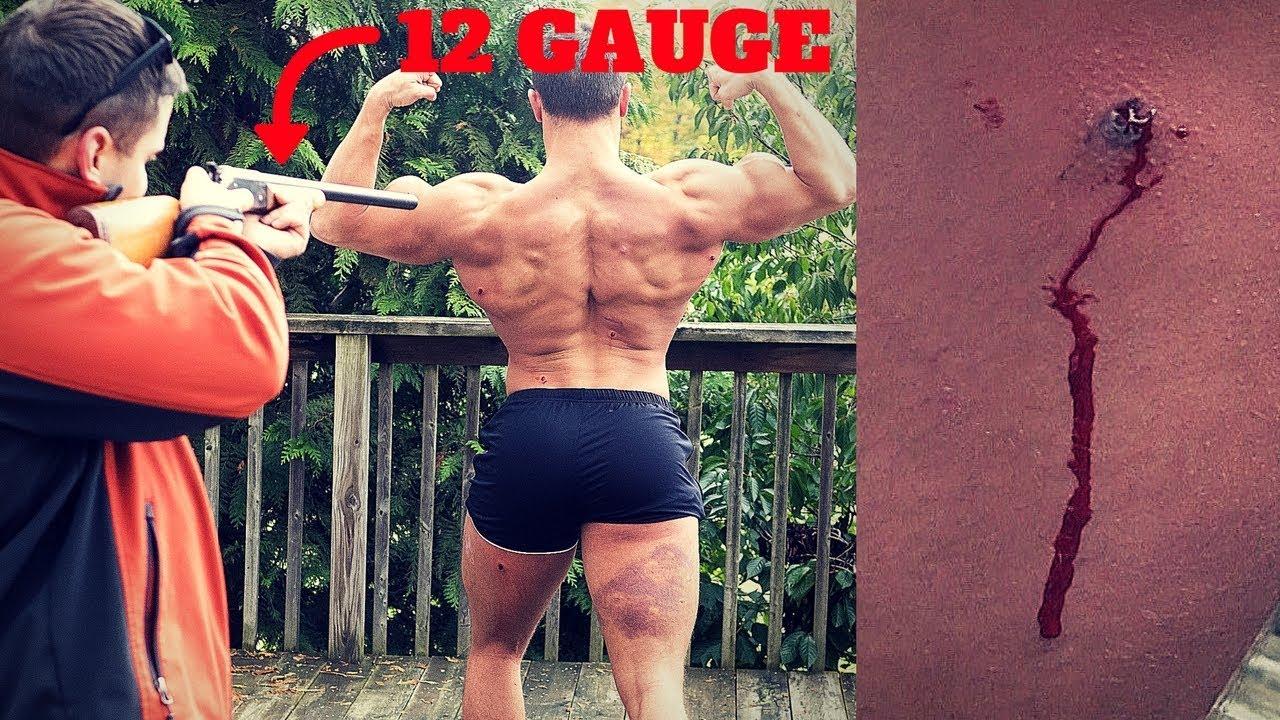 Bodybuilder Vs 12 Gauge Rubber Buckshot Intense Pain