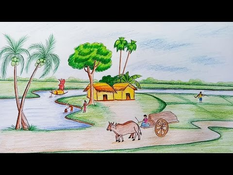 How to draw  scenery of rural life