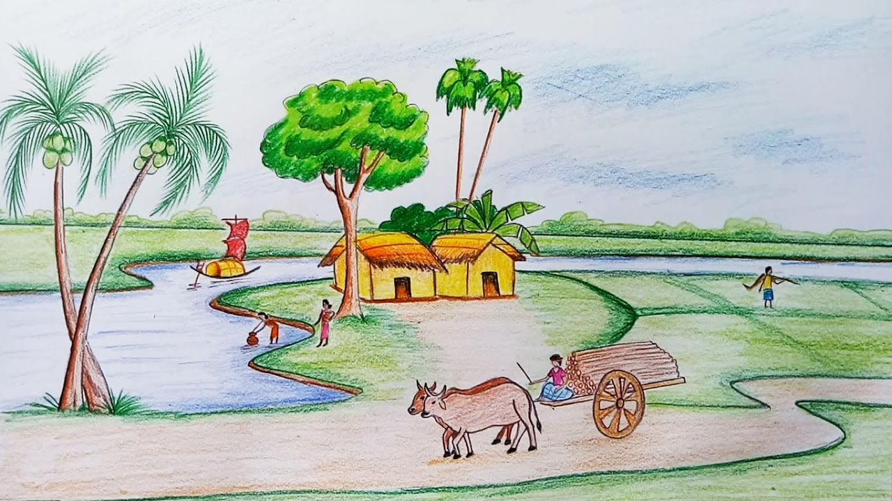 Village Life Art Drawing