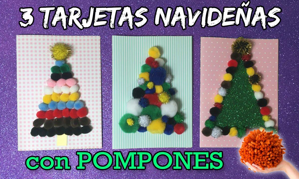 Tarjetas navide as con pompones manualidades infantiles - Tarjeta de navidad manualidades ...