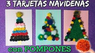 TARJETAS NAVIDEÑAS con pompones * MANUALIDADES infantiles de navidad