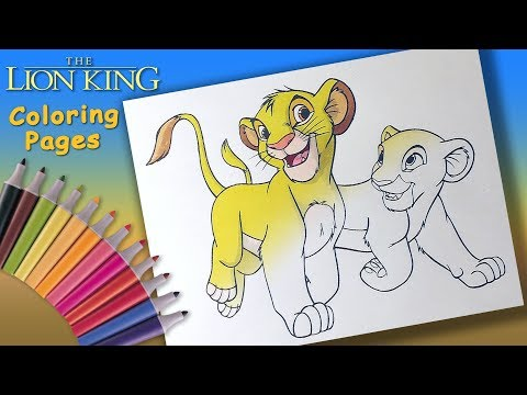 Lion King Coloring Book for kids. Young Simba and Nala Coloring Page