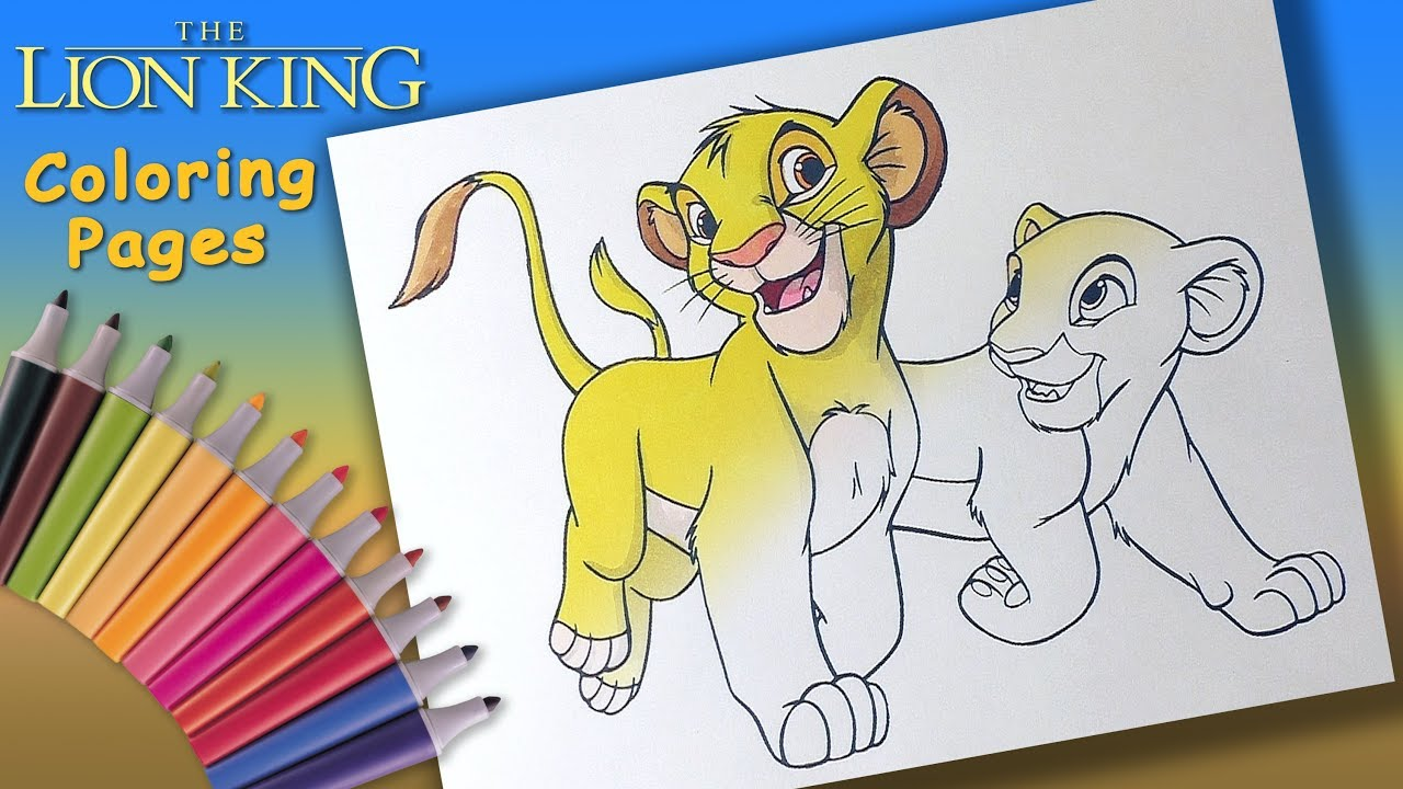 Lion King Coloring Book for kids. Young Simba and Nala Coloring Page ...