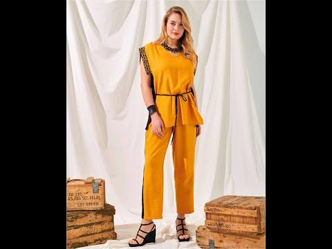 土耳其NERI-橘黃袖滾邊大尺碼長版上衣