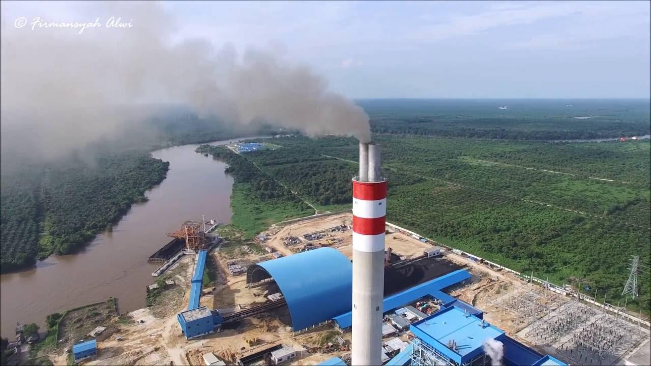 asap sudah keluar dari Chimney PLTU RIAU 2x110 MW ...