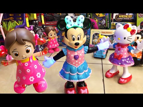 MINNIE vs HELLO KITTY and friends MUSICAL TOYS  DANCE BATTLE