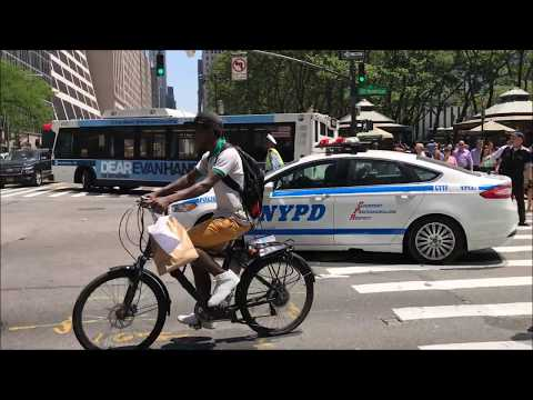 NYPD CRUISER RESPONDING URGENTLY ON WEST 42ND STREET IN MIDTOWN AREA OF MANHATTAN IN NEW YORK CITY.