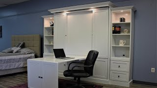 Shaker Murphy bed with Inset Desk