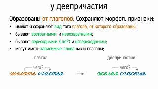 Признаки глагола и наречия у деепричастия (7 класс, видеоурок-презентация)