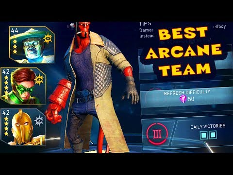Injustice 2 Mobile. HARD Hellboy Challenge Review with THE BEST ARCANE TEAM IN THE GAME!
