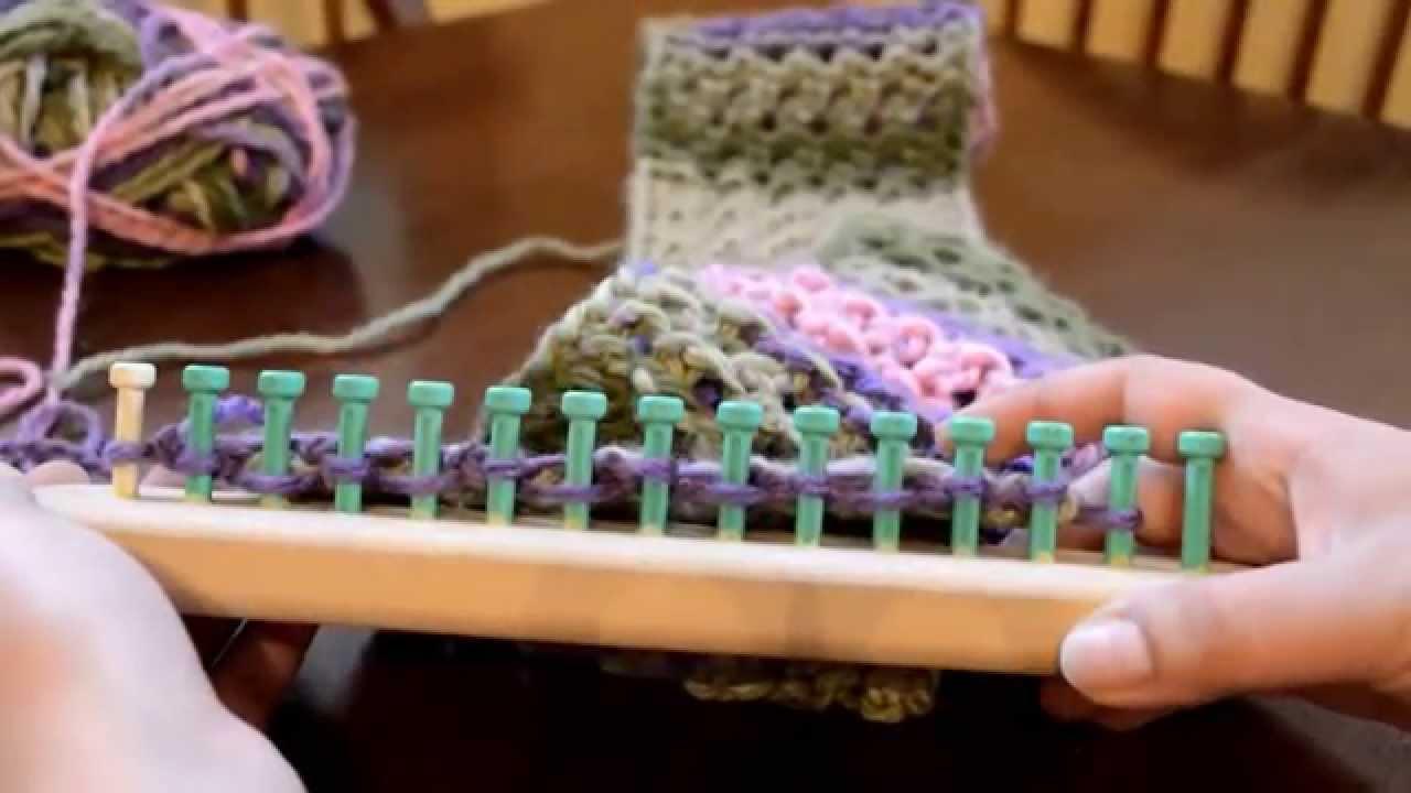 Loom Knit Flat Panel Eyelet Stitch Scarf - YouTube