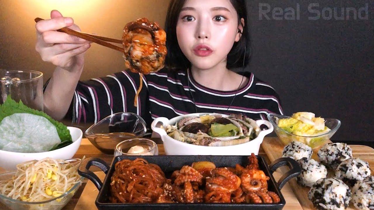 SUB[광고]매콤통통 쭈꾸미와 밀푀유전골 먹방 디저트로 호떡절편까지 리얼사운드 Stir-fried spicy baby octopus Mille-Feuille Mukbang ASMR