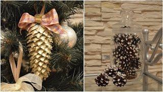 Как декорировать новогодние шишки своими руками?