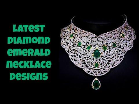 Latest Diamond Emerald Necklace Designs