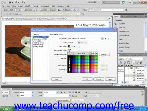 Dreamweaver cs5 tutorial changing a web page 39 s background for Change background color of html page