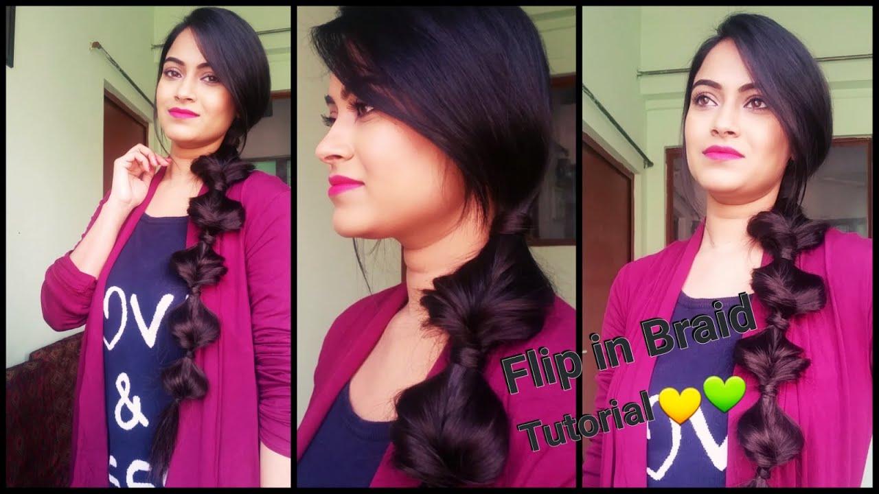 indian hairstyles for medium to long hair//flip in braid //diy easy  everyday hairstyles