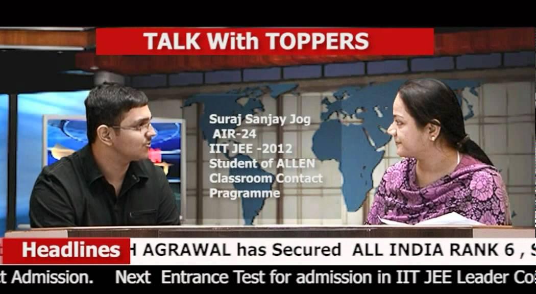 IIT JEE 2012 Topper (AIR 24) SURAJ SANJAY JOG's Interview - YouTube